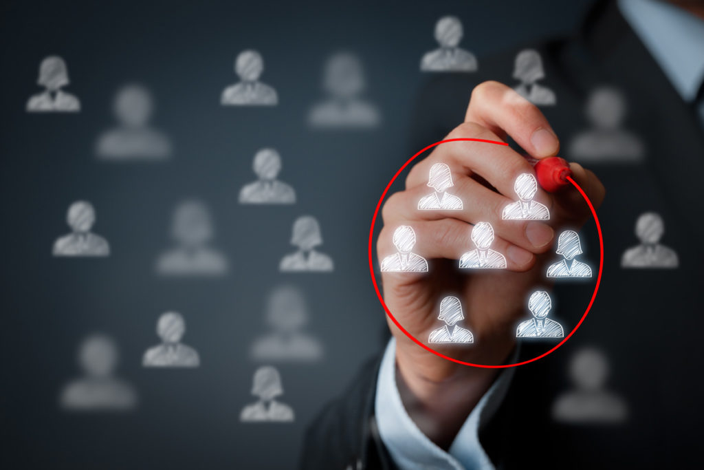 Marketing segmentation, customers care, customer relationship management (CRM) and team building concepts.